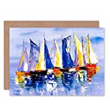 Boats Sailing at Sea Greeting Card with Envelope Inside Premium Quality