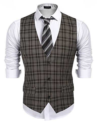 COOFANDY Men's Business Suit Vest,Slim Fit Formal Skinny Wedding Waistcoat (Small, Plaid Khaki)