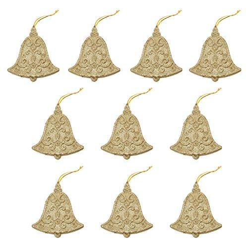 10pcs Glitter Bell Shape Christmas Tree Decoration Hanger Ornaments Gold - 1