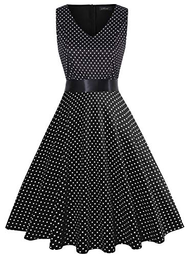 IHOT Vintage Tea Dress 1950's Floral Spring Garden Retro Swing Prom Party Cocktail Dress for Women (XL, Black White Polka Dot)