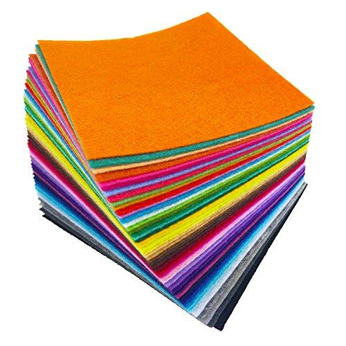 flic-flac 48PCS 6 x 6 inches (15 x 15cm) Assorted Color Felt Fabric Sheets Patchwork Sewing DIY Craft 1mm Thick … (15cm 15cm, (Patchwork Felt)