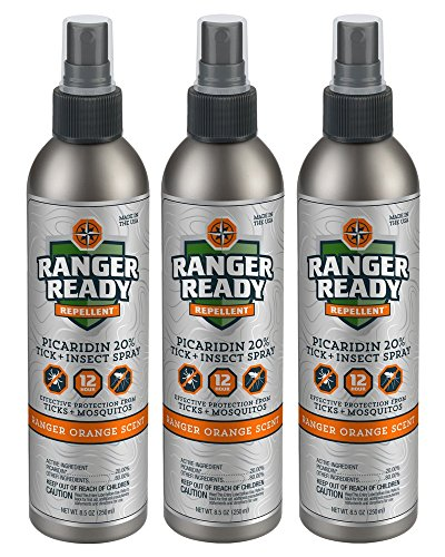 Ranger Ready Repellents Picaridin 20% Tick + Insect Repellent Spray Expedition Pack | Ranger Orange Scent | 3X 235ml/8.0oz by Ranger Ready Repellents