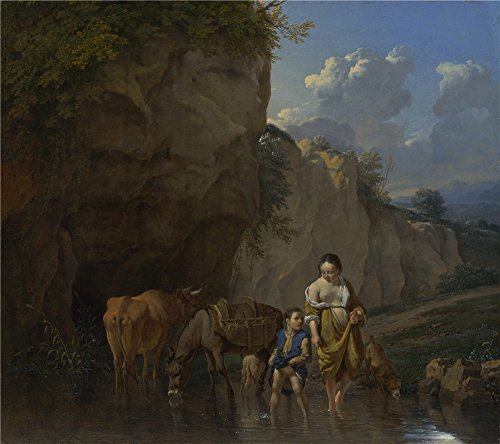 Oil Painting 'Karel Dujardin A Woman And A Boy With Animals At A Ford', 18 x 20 inch / 46 x 52 cm , on High Definition HD canvas prints is for Gifts And Hallway, Home Office And Kids Room Decoration