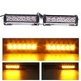 GES 2 piece 6 LED Strobe Lights 12V Amber Waterproof Hazard Emergency Warning Grille Light for Trucks Cars Suv (Amber)