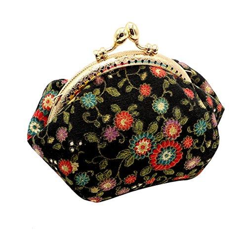 Lock Handbag - HeySun Girls Floral Slim Wallet Kiss-Lock Change Pocket Casual Coin Purse for Ladies (Black-2)