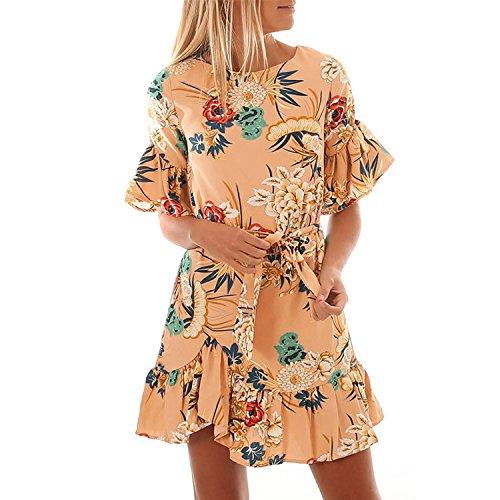 Floral Print Women Short Dress Flower Boho Beach Sundress Short Sleeve Bandage Mini Dress Sexy,Den 07363,M ()
