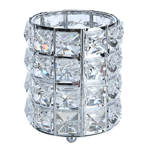 XGao Personalized Makeup Brush Holder Organizer Crystal Bling Pen Pencil Container Rotating Box Eyebrow Comb Cup Collection Cosmetic Storage Organizer for Vanity Bathroom Bedroom Office Desk (1SL) ()