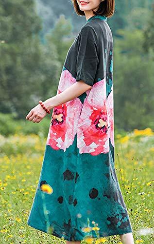 Retro Damen Maxi Party Kleid Blau Kurzarm Q32325 Feiertagskleid Kleider DISSA Cocktail Baumwolle Lose 5XwHqT6Ex