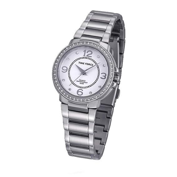 TIME FORCE Reloj Analógico para Mujer de Cuarzo con Correa en Acero Inoxidable TF-4021L02M: Amazon.es: Relojes