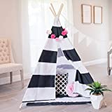little dove Kids Teepee Tent Set with Mat - 4 Wooden Poles Indian Playhouse for Children Durable Cotton Canvas Fabric Comes with Balck and White Mat and Carry Case