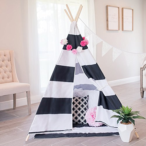 little dove Kids Teepee Tent Set with Mat - 4 Wooden Poles Indian Playhouse for Children Durable Cotton Canvas Fabric Comes with Balck and White Mat and Carry Case by little dove