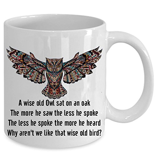 A WISE OLD OWL SAT ON AN OAK- Funny Birthday Gift with ceramic mugs gifts set with lid For Men & Women, wise teacher love snow night baby owl