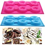 seguryy 1pc 6 Silicone Cake Mould Donut Doughnut Chocolate Soap Candy Jelly Mold Baking Pan (Blue)