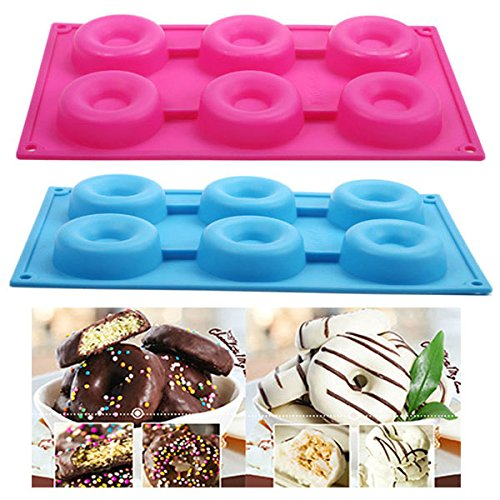 seguryy 1pc 6 Silicone Cake Mould Donut Doughnut Chocolate Soap Candy Jelly Mold Baking Pan (Blue) by seguryy