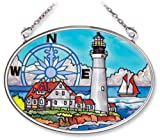 Amia Hand Painted Glass Suncatcher with Portland Head Lighthouse Design, 3-1/4-Inch by 4-1/4-Inch Oval