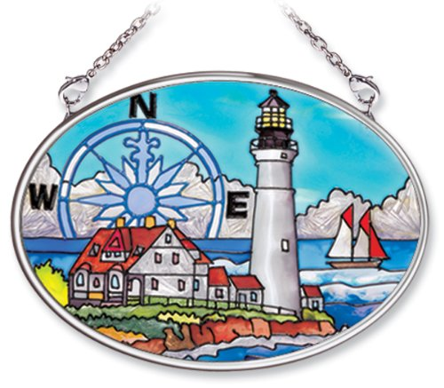 Amia Hand Painted Glass Suncatcher with Portland Head Lighthouse Design, 3-1/4-Inch by 4-1/4-Inch - Lighthouse Suncatcher