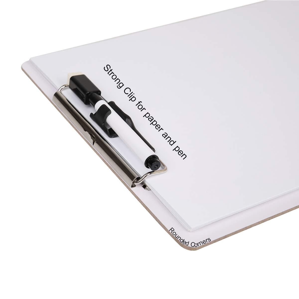 oficina trabajo aula. clip de perfil bajo Juego de 6 portapapapeles de borrado en seco con marcador tama/ño A4 para documentos pizarra blanca para la escuela JAKAGO