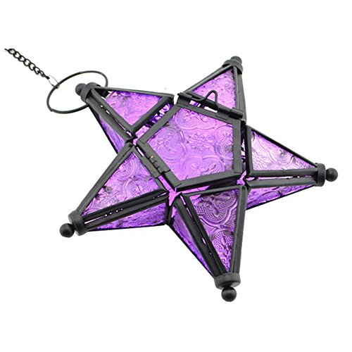 CraftVatika Iron Glass Purple Hanging Candle Holder Star Decorative Lantern | Tealight Holder for Decoration | Candle Lights for Living Room & Home | by CraftVatika