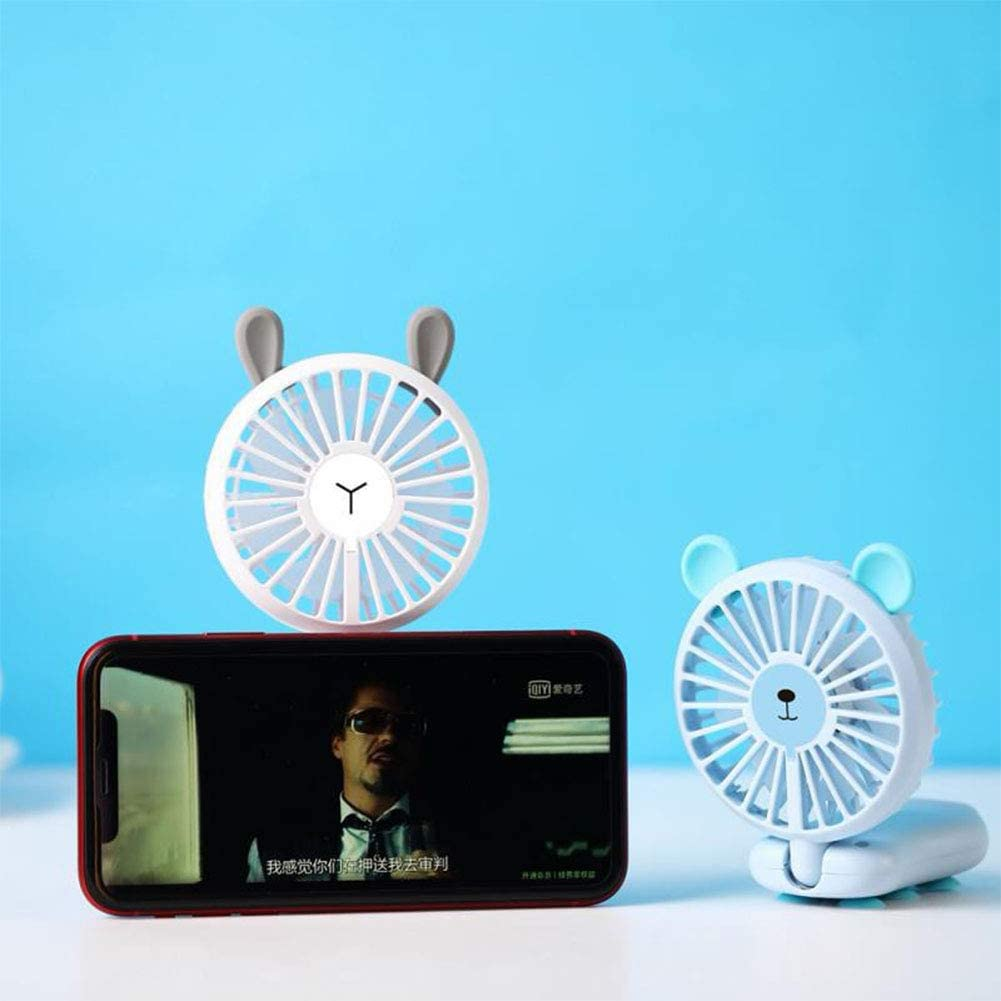 DishyKooker Portable Cellphone Mounted USB Rechargeable Fan Handheld Suction Cup Mobile Phone Bracket Fan with LED Light White Bear