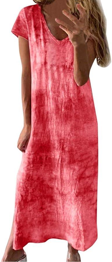 xinxinyu - Vestido largo de verano para mujer, estampado suelto en V, manga corta, de algodón, con mangas: Amazon.es: Instrumentos musicales