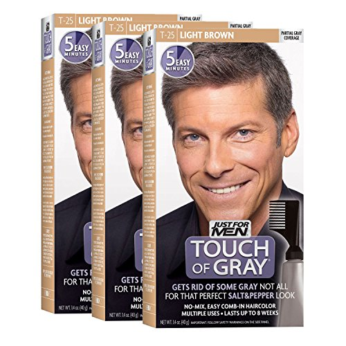 Just For Men Touch of Gray Comb-In Men's Hair Color, Light Brown (Pack of 3) (Hair Gray Shades)