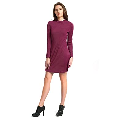 Miss Bec Swing Casual Dress Knitting Sexy Stretchy Long Sleeve Round Neck T-Shirt Dress