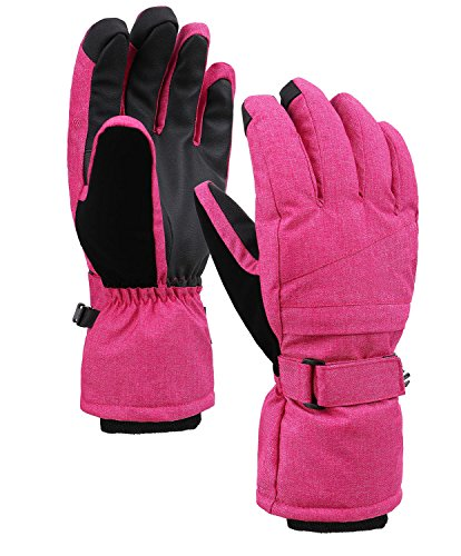 Jasmine Ski Gloves Windproof Thinsulate Lined Ski Snowboard Gloves,Pink,M