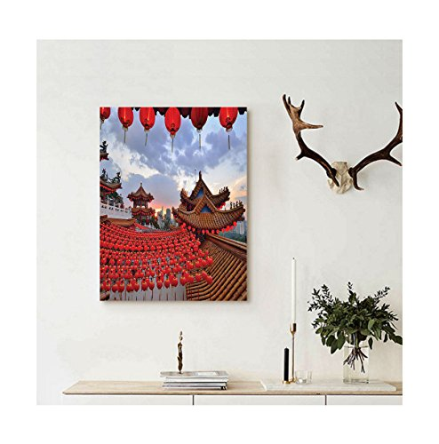 Liguo88 Custom canvas Lantern Decor Collection Oriental Ethnic Lanterns over A Temple at Sunset Structure for Religious Rituals Worship Wall Hanging Red Blue (Oriental Lantern Cross Stitch Kit)
