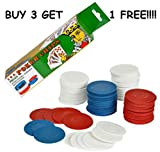 100 POKER CHIPS RED WHITE BLUE PLASTIC EASY STACKING WASHABLE INTERLOCKING NICE