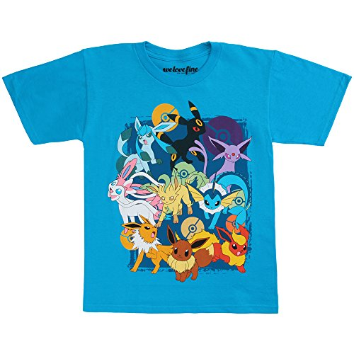 Pokemon Eevee Evolutions Youth T-Shirt - Turqoise - Evolution T-shirt Kids