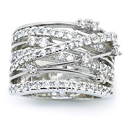 (Sinwo Women Elegant Exquisite Diamond Cylindrical Rings Fine Ring Engagement Ring Gift (7, White) )