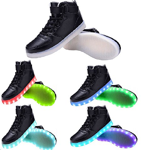 Value Sport Unisex LED Flashing Light USB Charge Shoes Athletic High-top Sport Sneakers Black Mgpl08Nn1