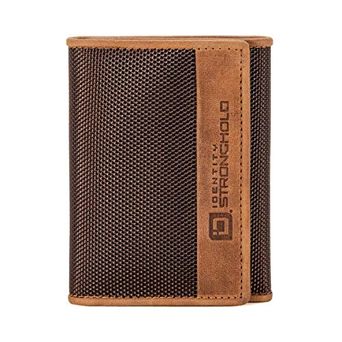 RFID Blocking - Slim Leather Trifold Wallet for Men - Durable Nylon and Leather