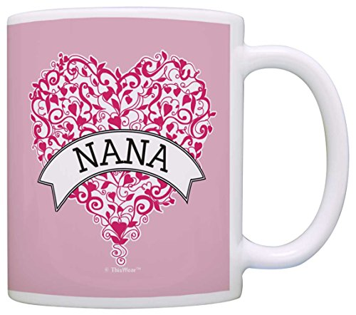 Mother's Day Gift for Nana Pink Ribbon Heart Breast Cancer Awareness Gift Coffee Mug Tea Cup Pink