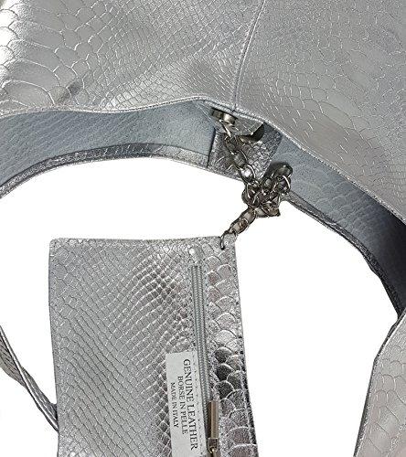 hombro para Bolso FreyFashion Made Italy in de mujer Snake Ante al Silber BqwXUwfx