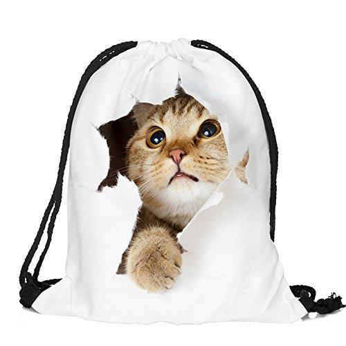 Animal Bag - Men's Women's Print Shoulder Drawstring Bag Backpack String Bags School Rucksack Gym Handbag (animals,foods)15