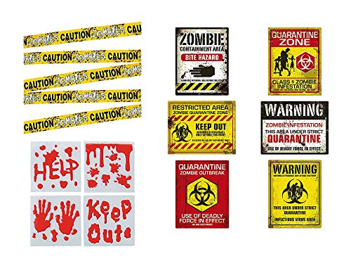 Zombie Party and Halloween Supplies - Posters, Caution Tape, Bloody Gel Clings