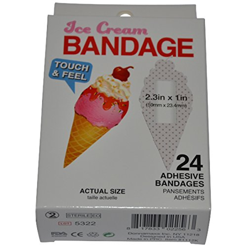 BioSwiss Novelty Bandages Self-Adhesive Funny First Aid, Novelty Gag Gift (24pc) (Ice Cream Cone)