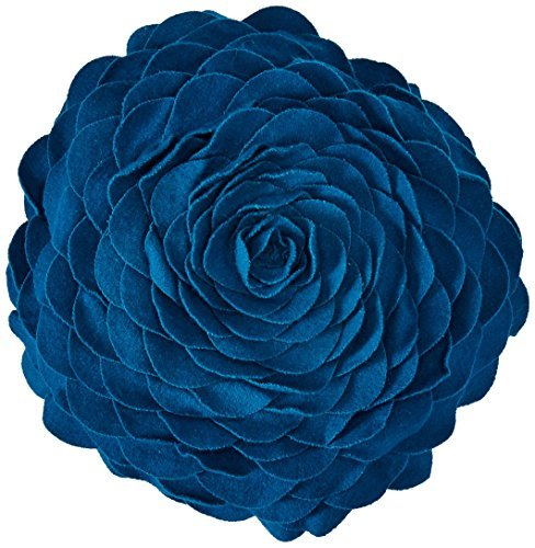 Rizzy Home TF-4345 14-Inch Round Decorative Pillows, Blue [並行輸入品] B07R6ZXSK5