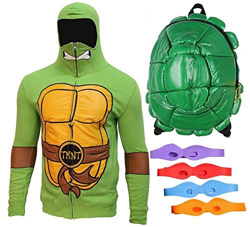 Ninja Turtles Teenage Mutant Men's Hoodie and Backpack Costume Combo w/Masks (X-Large)