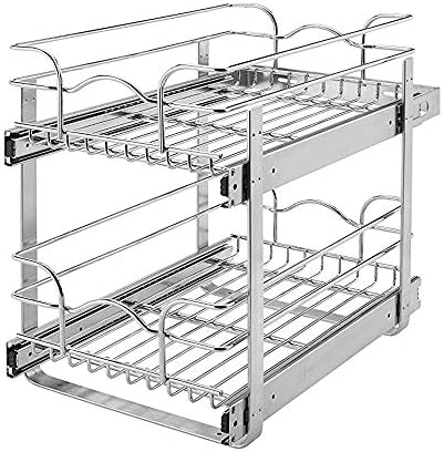 Rev-A-Shelf 5WB2-0918-CR 9 x 18 Inch 2-Tier Kitchen Cabinet Pull Out Wire Basket