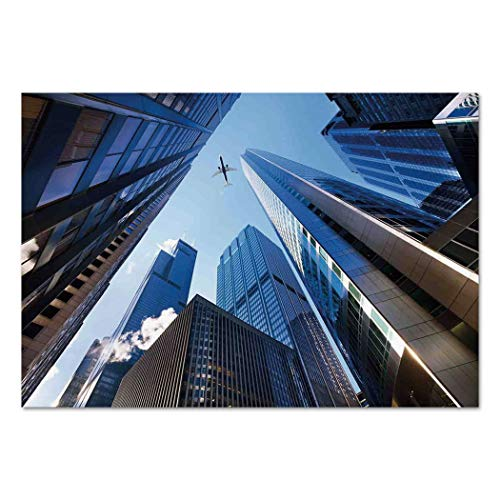 Large Wall Mural Sticker [ Urban,Looking Up at Chicagos Skyscrapers in Financial District American City Picture,Blue Silver ] Self-Adhesive Vinyl Wallpaper/Removable Modern Decorating Wall Art