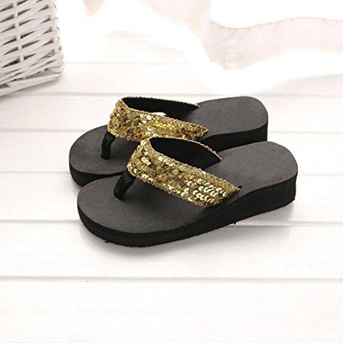 Ouneed Mujeres verano lentejuelas playa interior & Outdoor flip-flop zapatillas Oro