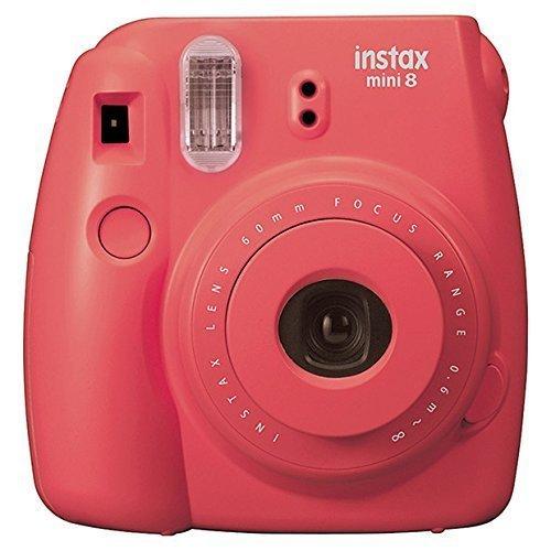 Fujifilm Instax Mini 8 Instant Film Camera (Raspberry) + Fujifilm INSTAX Mini Instant Film (Twin Pack) + Soft Carry Case + PixiBytes Exclusive Cleaning Cloth