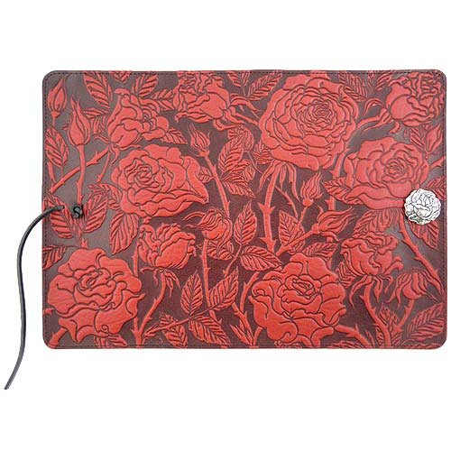 Wild Red Rose Embossed Leather Writing Journal, American Made, 6 x 9-inch + Refillable Hardbound Insert Book by Modern Artisans (Image #4)