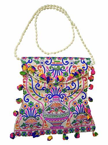 Hippie Handmade Embroidered traditional Design Banjara Tribal Creem Hand (Handmade Hippie Patchwork)