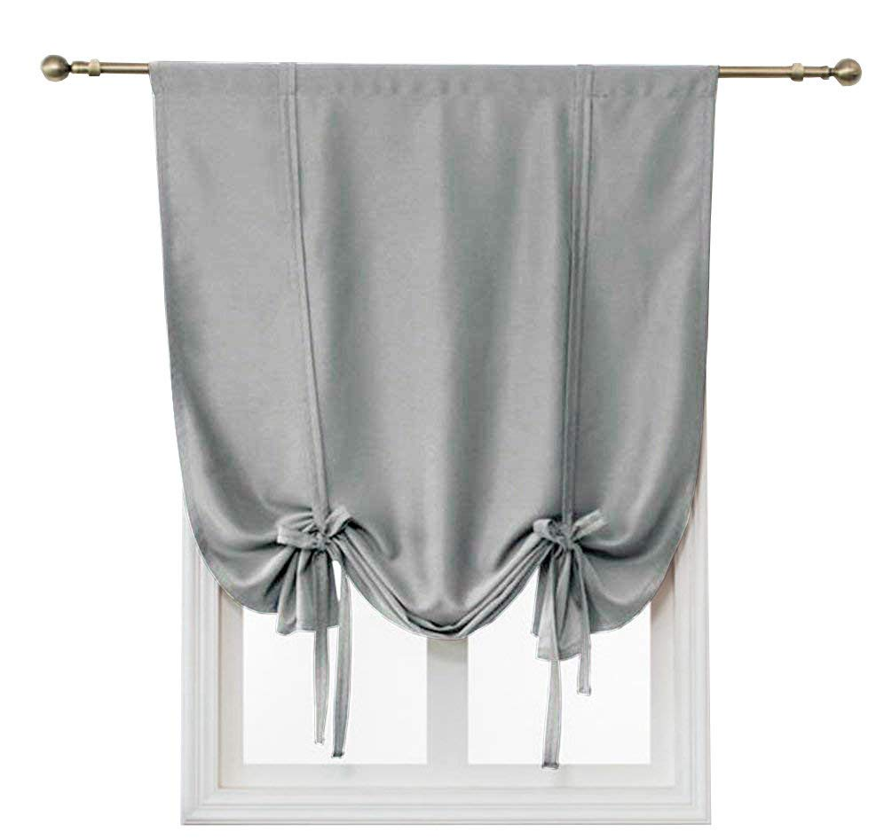HomeyHo Room Darkening Small Curtains for Bedroom Kids Rod Pocket Curtains for Living Room Blackout Tie Up Curtains for Small Windows Balloon Curtain Thermal Protector, 55 x 55 Inch, Gray