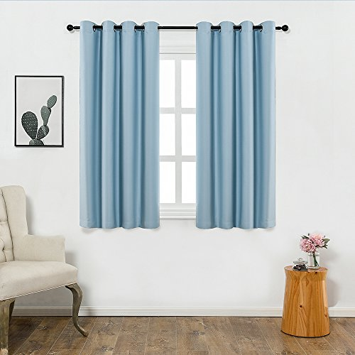 Colokey Blackout Curtain Shade Insulation Curtain for Bedroom Living Room Balcony Curtain,Aqua Blue,52x63-inch,1 Panel ()