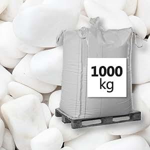 Desconocido Mármol Grava 1000kg Big Bag Ganz Blanco redondo 8–12mm Ornamentales Grava