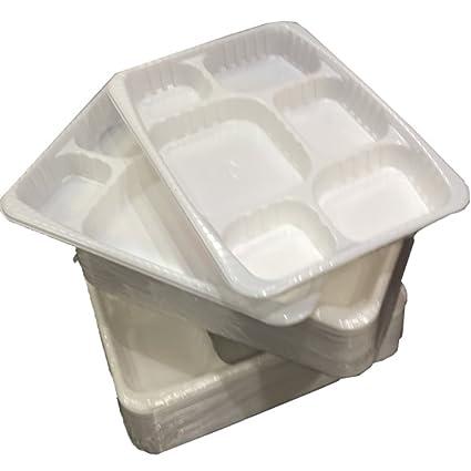 1000 fuerte Premium Heavy Duty Plástico Blanco 6 Compartimiento Alimentos Bandejas platos bandejas – tamaño 9